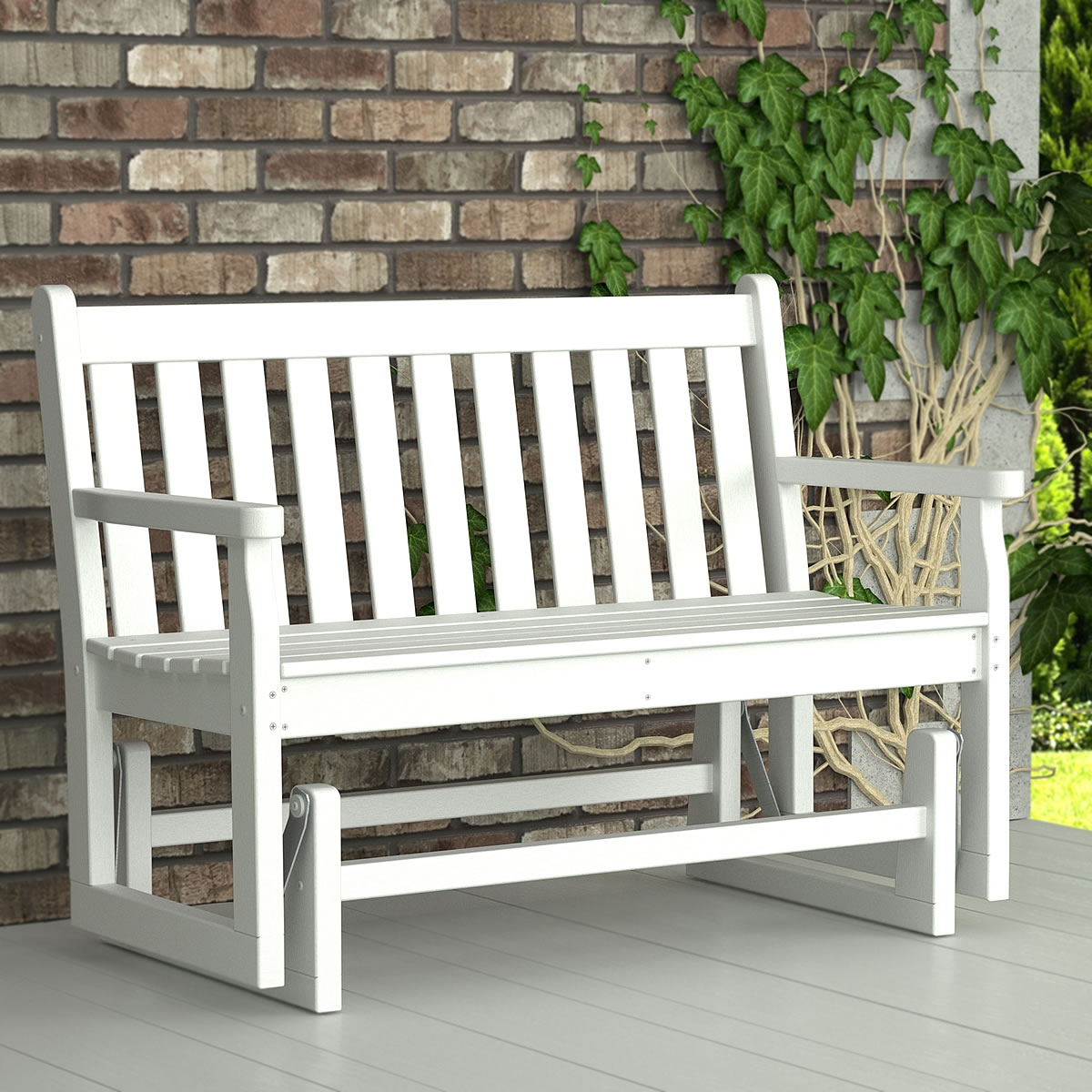 Furniture: White Wooden Porch Glider For Outdoor Furniture Ideas Intended For Traditional English Glider Benches (View 21 of 25)