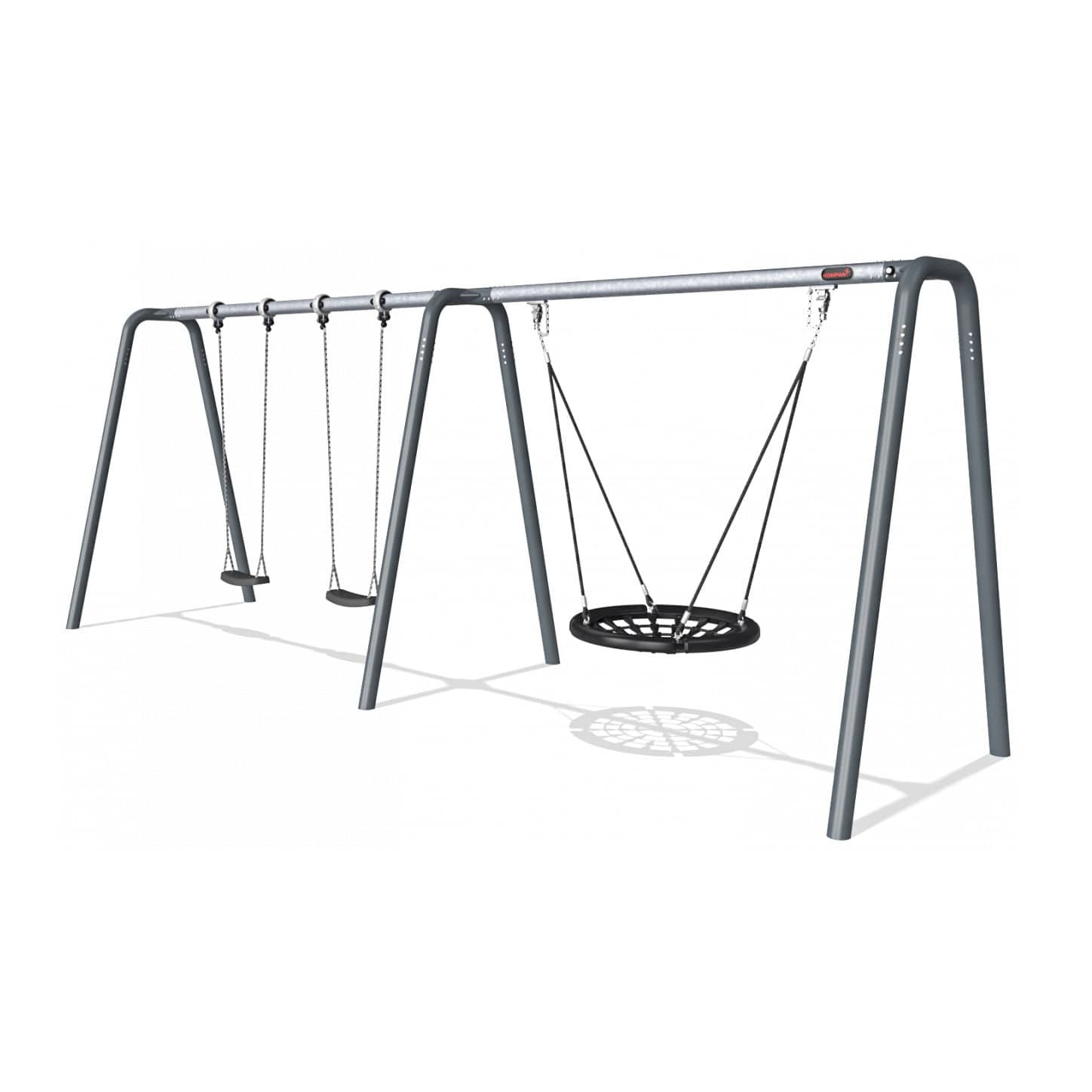 Galvanized Steel Swing / Playground / Multi Person Inside 2 Person Black Steel Outdoor Swings (Image 9 of 25)