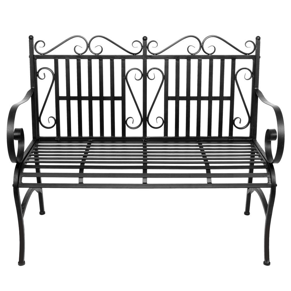 Garden Bench Metal Outdoor Patio Furniture Deck Chair Back Yard Iron Porch Seat Throughout 2 Person Antique Black Iron Outdoor Swings (View 6 of 25)