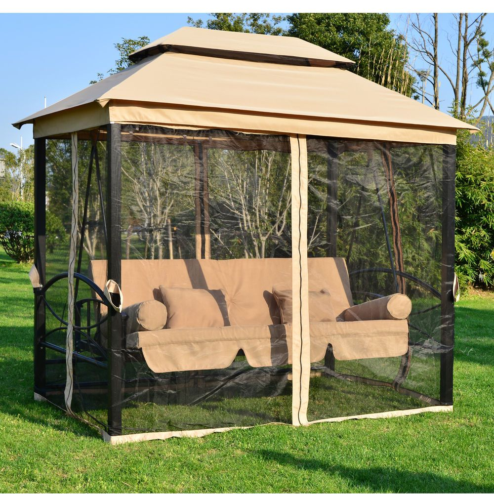 Garden Gazebo Marquee Shelter Canopy Swing Chair Hammock Intended For 3 Person Light Teak Oil Wood Outdoor Swings (View 8 of 25)