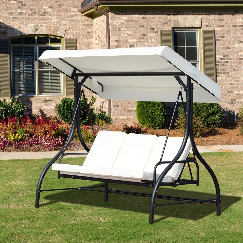 Garden Swing Chair 3 Seater Black Metal Frame White Canopy Regarding Patio Loveseat Canopy Hammock Porch Swings With Stand (View 11 of 25)