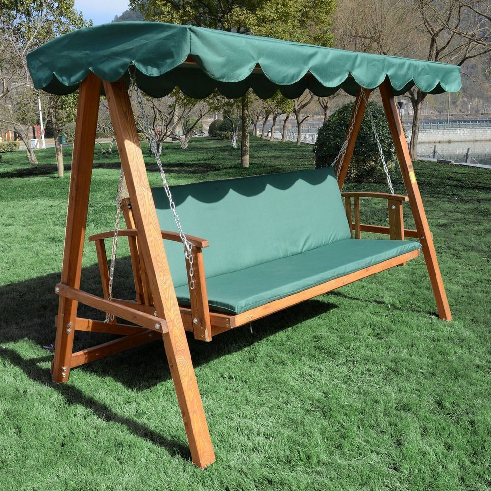 Garden Swing Chair 3 Seater Wooden Frame Green Canopy Seat Throughout 3 Seater Swings With Frame And Canopy (Image 10 of 25)
