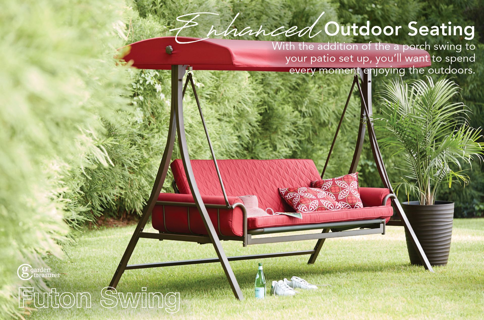 Garden Treasures 3 Person Red With Brown Powder Coated Frame Inside Outdoor Swing Glider Chairs With Powder Coated Steel Frame (View 17 of 25)