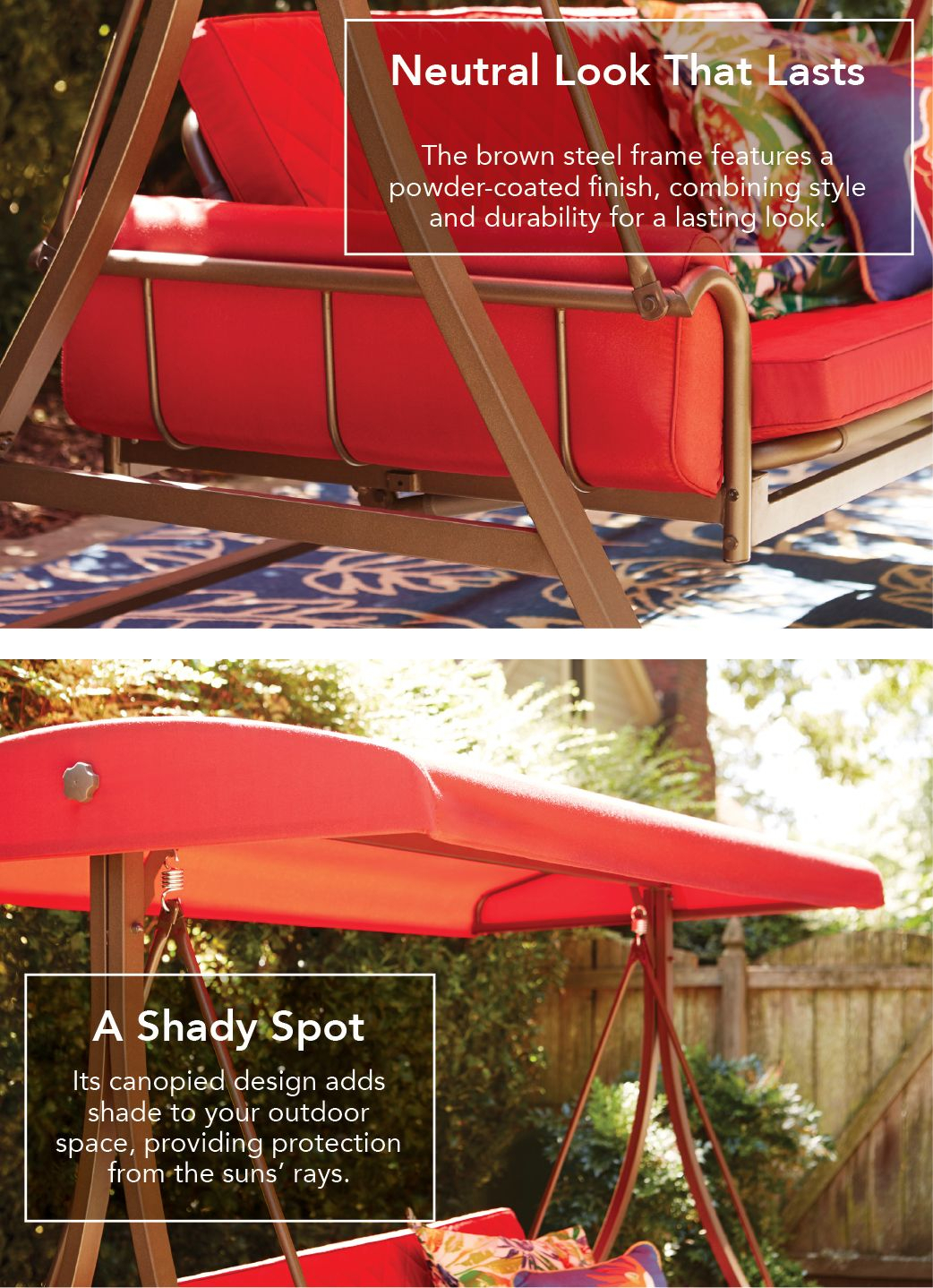 Featured Image of 3 Person Red With Brown Powder Coated Frame Steel Outdoor Swings