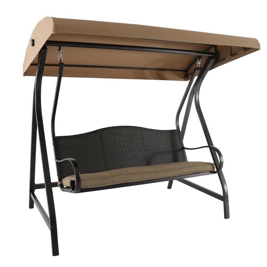 Garden Treasures Brown Porch Swing | Deck Ideas | Wicker For 3 Person Brown Steel Outdoor Swings (View 12 of 25)