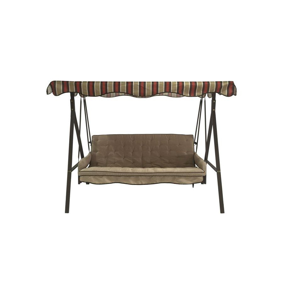 Garden Treasures Porch Swing – Lowe's Hadley | Porch Swing With Regard To 2 Person Hammered Bronze Iron Outdoor Swings (Image 5 of 25)