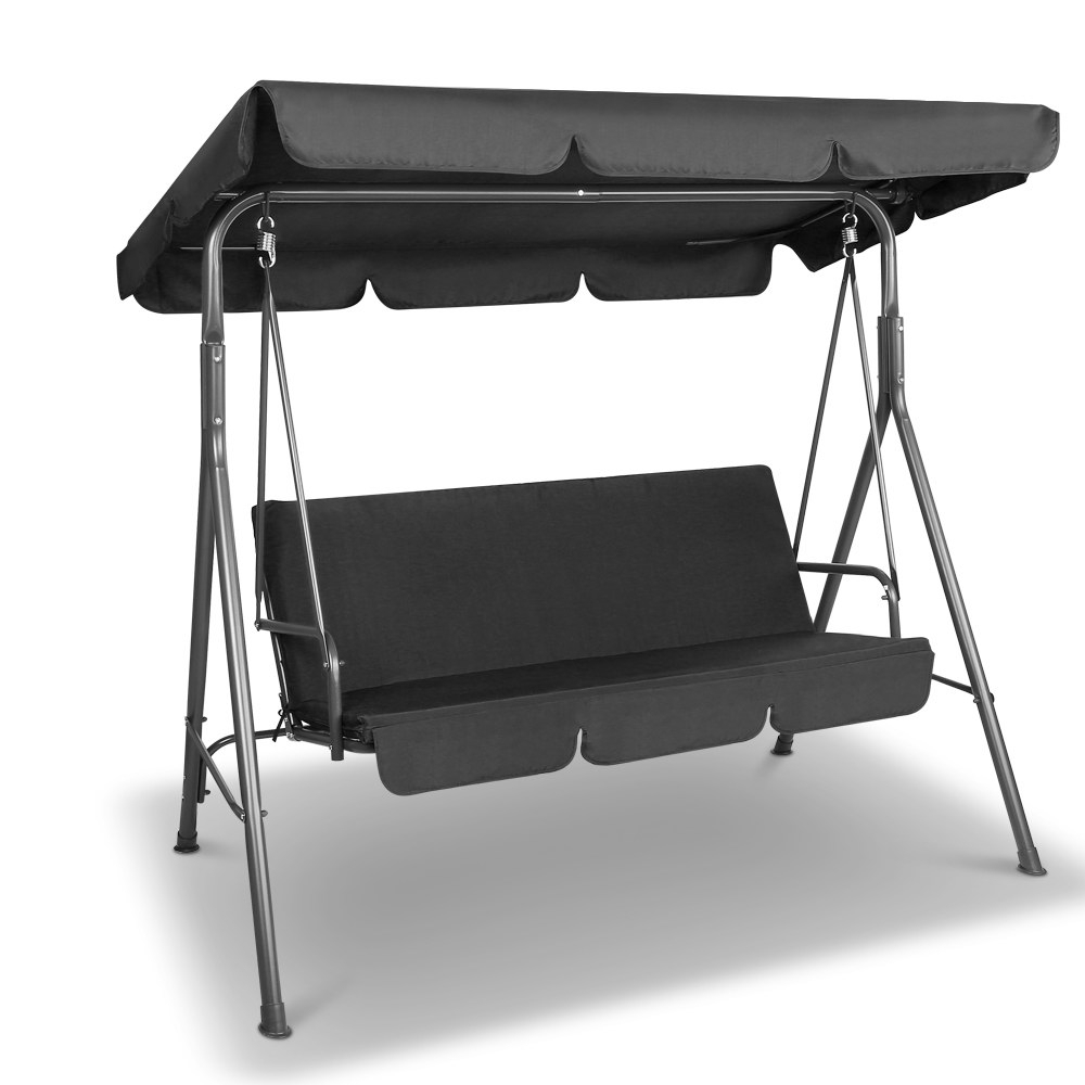 Gardeon 3 Seater Outdoor Canopy Swing Chair – Black Intended For 3 Seater Swings With Frame And Canopy (Image 11 of 25)