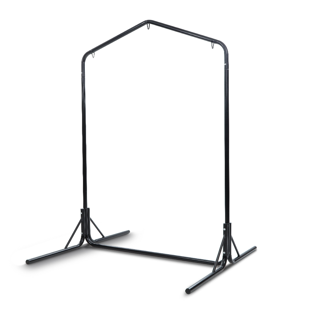 Gardeon Double Hammock Chair Stand Steel Frame 2 Person Outdoor Heavy Duty  200Kg For 2 Person Black Steel Outdoor Swings (Image 12 of 25)