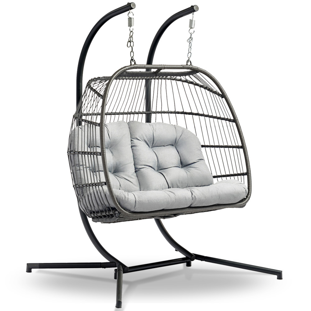 Gardeon Outdoor Furniture Hanging Swing Chair Egg Hammock Pod Wicker 2  Person Grey For 2 Person Black Steel Outdoor Swings (Image 13 of 25)