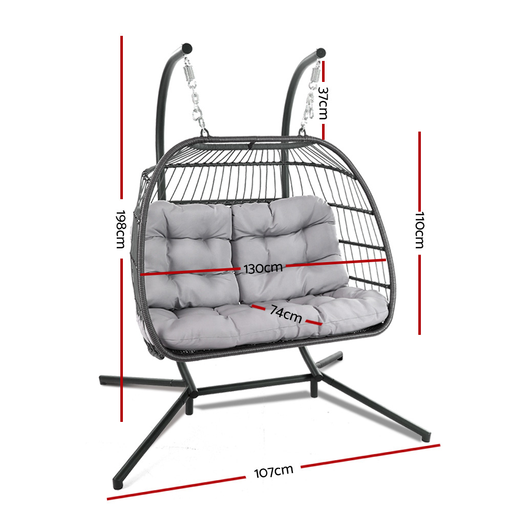 Gardeon Outdoor Furniture Hanging Swing Chair Egg Hammock Pod Wicker 2 Person Grey With Regard To 2 Person Gray Steel Outdoor Swings (View 7 of 25)