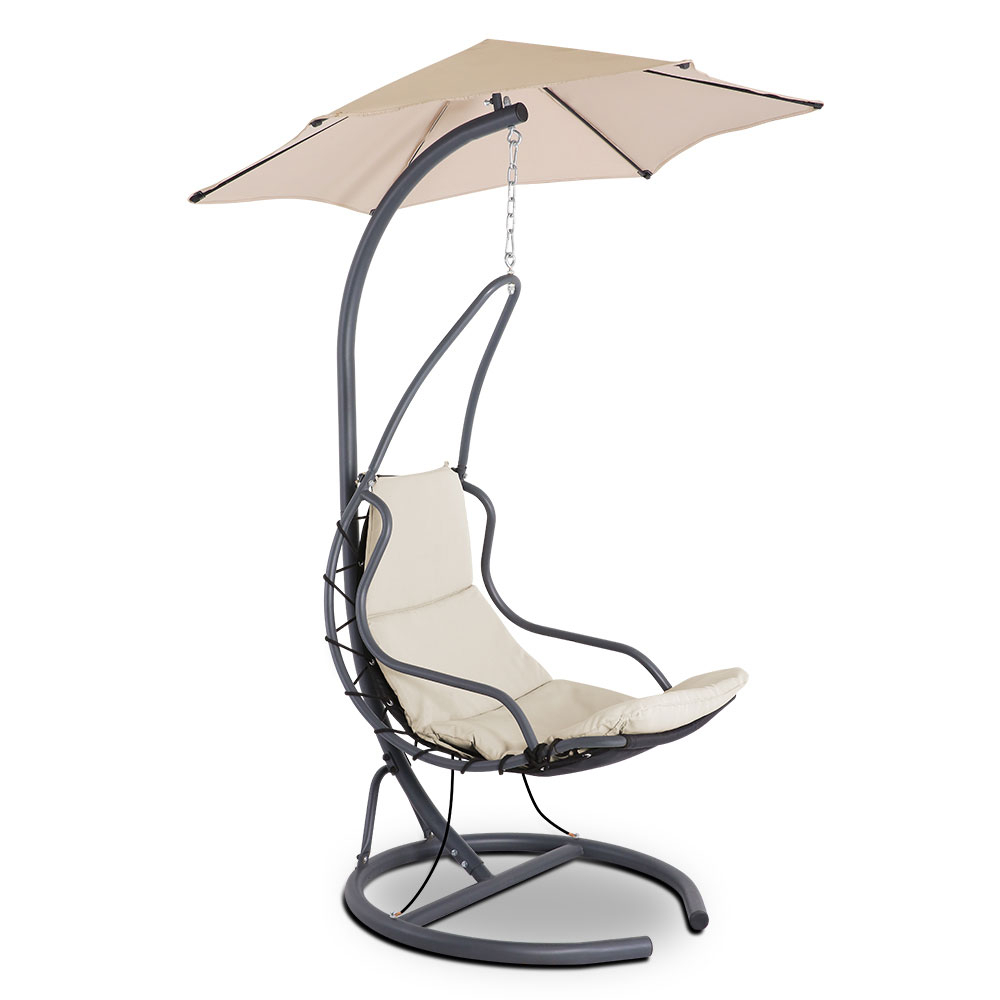 Gardeon Outdoor Swing Hammock Chair W/ Cushion Beige For Outdoor Swing Glider Chairs With Powder Coated Steel Frame (View 22 of 25)