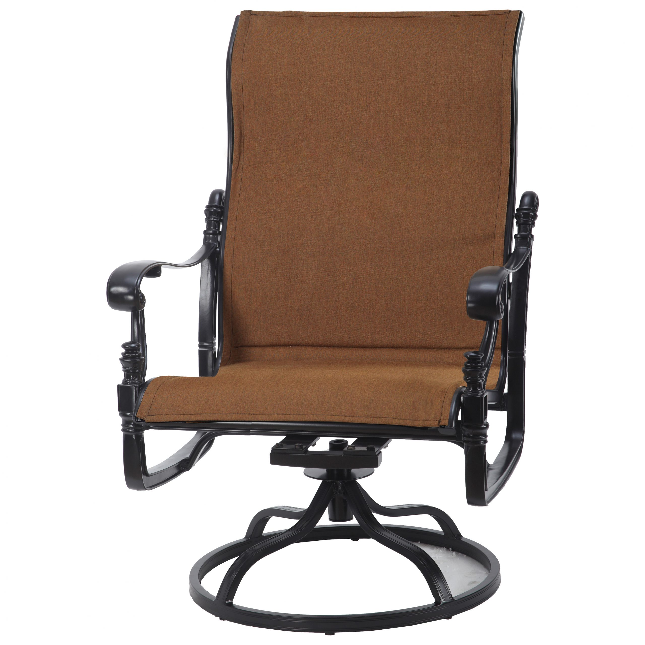 Gensun Florence Padded Sling Cast Aluminum High Back Swivel Rocking Lounge Chair With Padded Sling High Back Swivel Chairs (View 11 of 25)