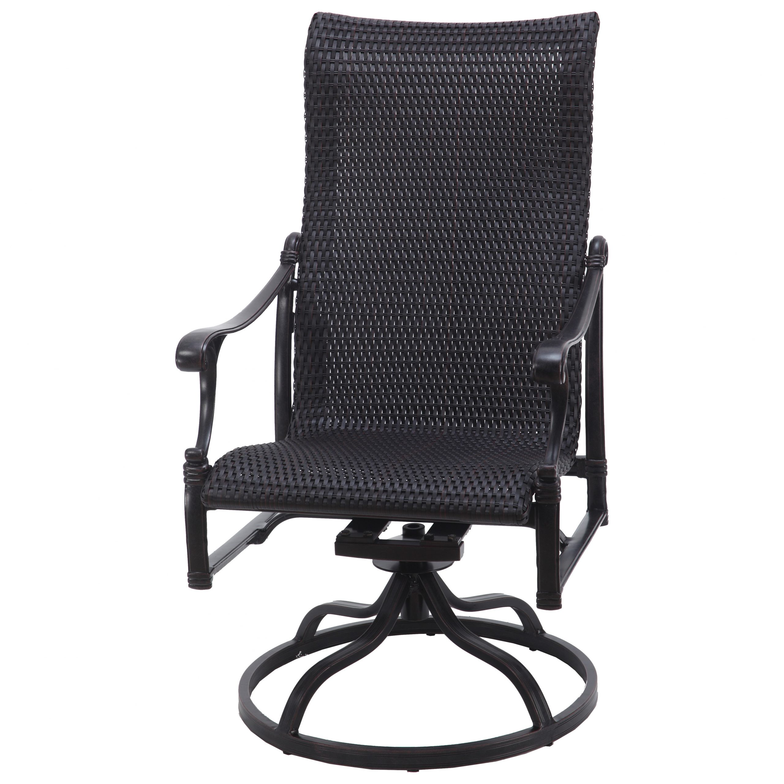 Gensun Michigan Woven Cast Aluminum High Back Swivel Rocker Intended For Woven High Back Swivel Chairs (Image 5 of 25)