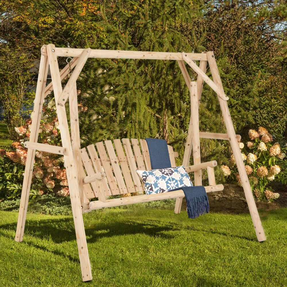 Giantex Rustic Wooden Porch Swing Bench W/a Frame Stand Set With Rosean Porch Swings (View 8 of 25)