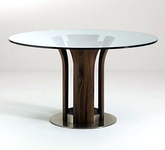 Glass Dining Table With Wood Base Dining Room Table Glass For Round Dining Tables With Glass Top (View 23 of 25)