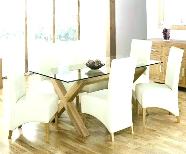 Glass Dining Table With Wood Base – Selaras (Image 11 of 25)