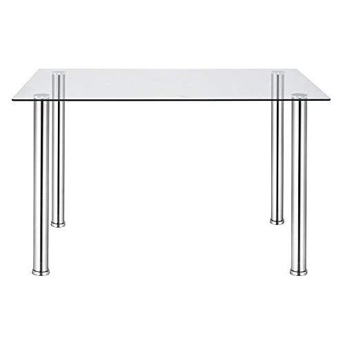 Glass Dining Table,tempered Glass Rectangle Table With Intended For Glass Dining Tables With Metal Legs (View 4 of 25)