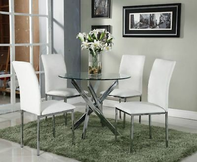 Glass Round Dining Set Modern Chrome Legs 4 Seater White Intended For 4 Seater Round Wooden Dining Tables With Chrome Legs (View 13 of 25)