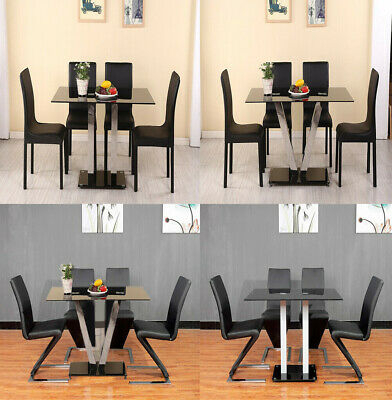 Glass Round Dining Set Modern Chrome Legs 4 Seater White Pertaining To 4 Seater Round Wooden Dining Tables With Chrome Legs (View 18 of 25)