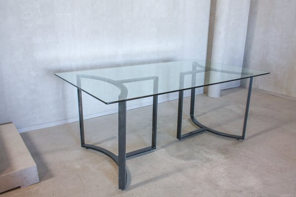 Glass & Steel Dining Table, 1980S Throughout Steel And Glass Rectangle Dining Tables (View 25 of 25)