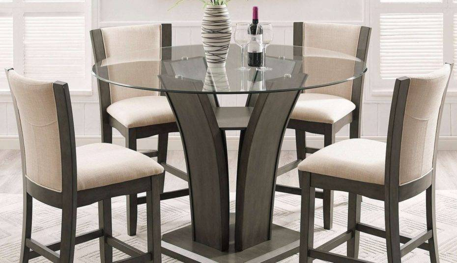 Glass Top Dining Table Set Chairs Round For Room Sets Intended For Retro Round Glasstop Dining Tables (Image 9 of 25)