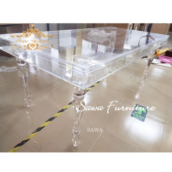 Glass Transparency Rectangular Modern Design Wedding Acrylic In Modern Gold Dining Tables With Clear Glass (View 19 of 26)