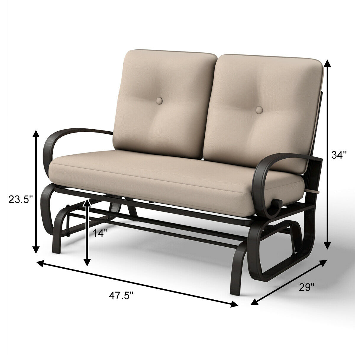 Glider Outdoor Patio Rocking Bench Loveseat Cushioned Seat Steel Frame  Furniture Intended For Outdoor Patio Swing Porch Rocker Glider Benches Loveseat Garden Seat Steel (View 5 of 25)