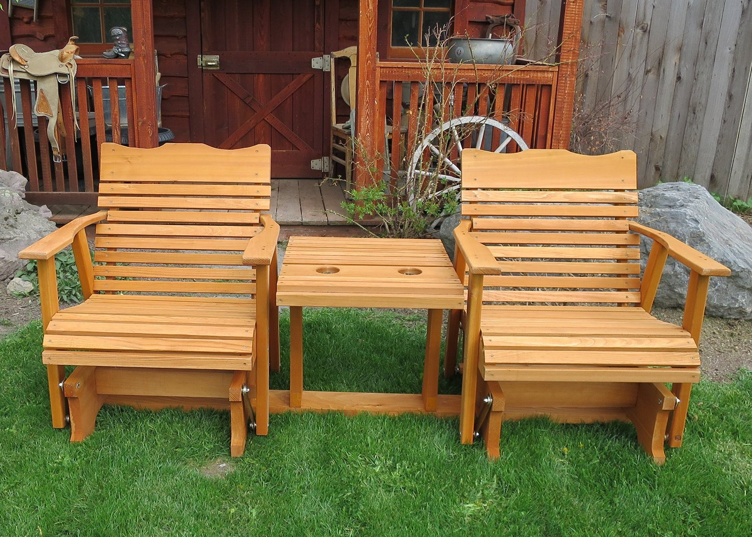 Gliders For 2 Person Natural Cedar Wood Outdoor Gliders (Image 15 of 25)