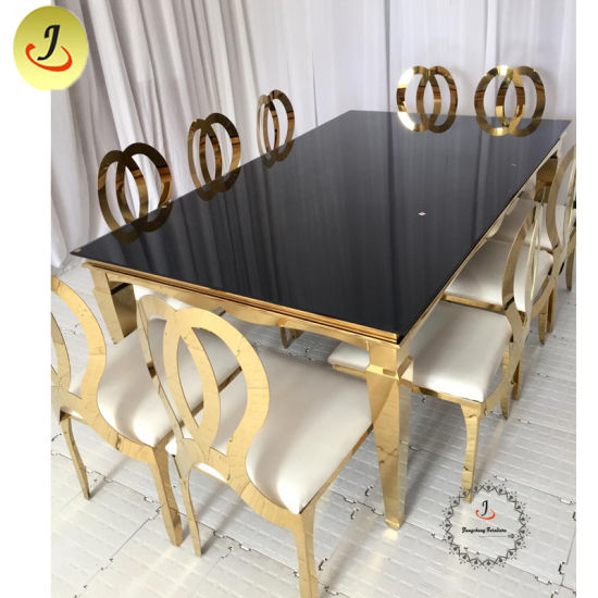 Gold Stainless Steel Mirror Glass Top Rectangle Dining Table For Banquet Wedding Within Steel And Glass Rectangle Dining Tables (View 21 of 25)