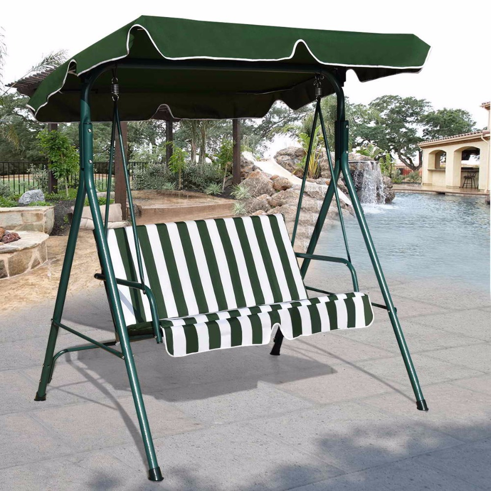 Goplus Loveseat Patio Canopy Swing Glider Hammock Cushioned Intended For Garden Leisure Outdoor Hammock Patio Canopy Rocking Chairs (View 12 of 25)