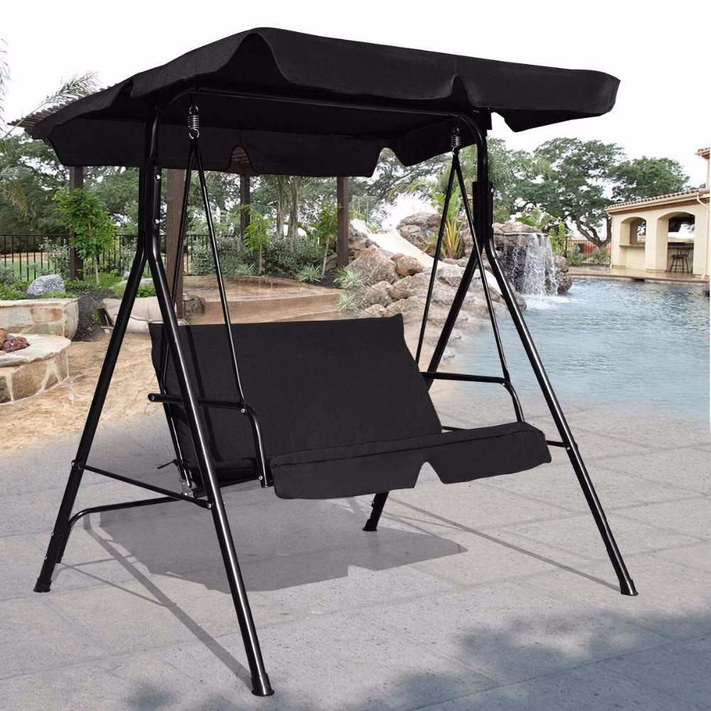 Goplus Loveseat Patio Canopy Swing Glider Hammock Cushioned Intended For Steel Patio Swing Glider Benches (View 18 of 25)