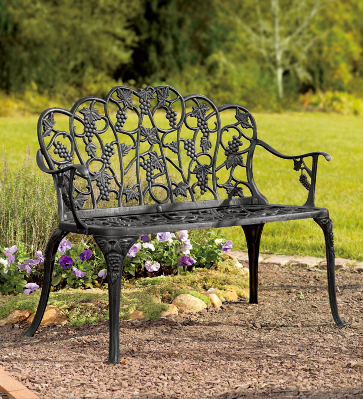 Grapevine Garden Bench In Powder Coated Aluminum Within Black Steel Patio Swing Glider Benches Powder Coated (Image 15 of 25)