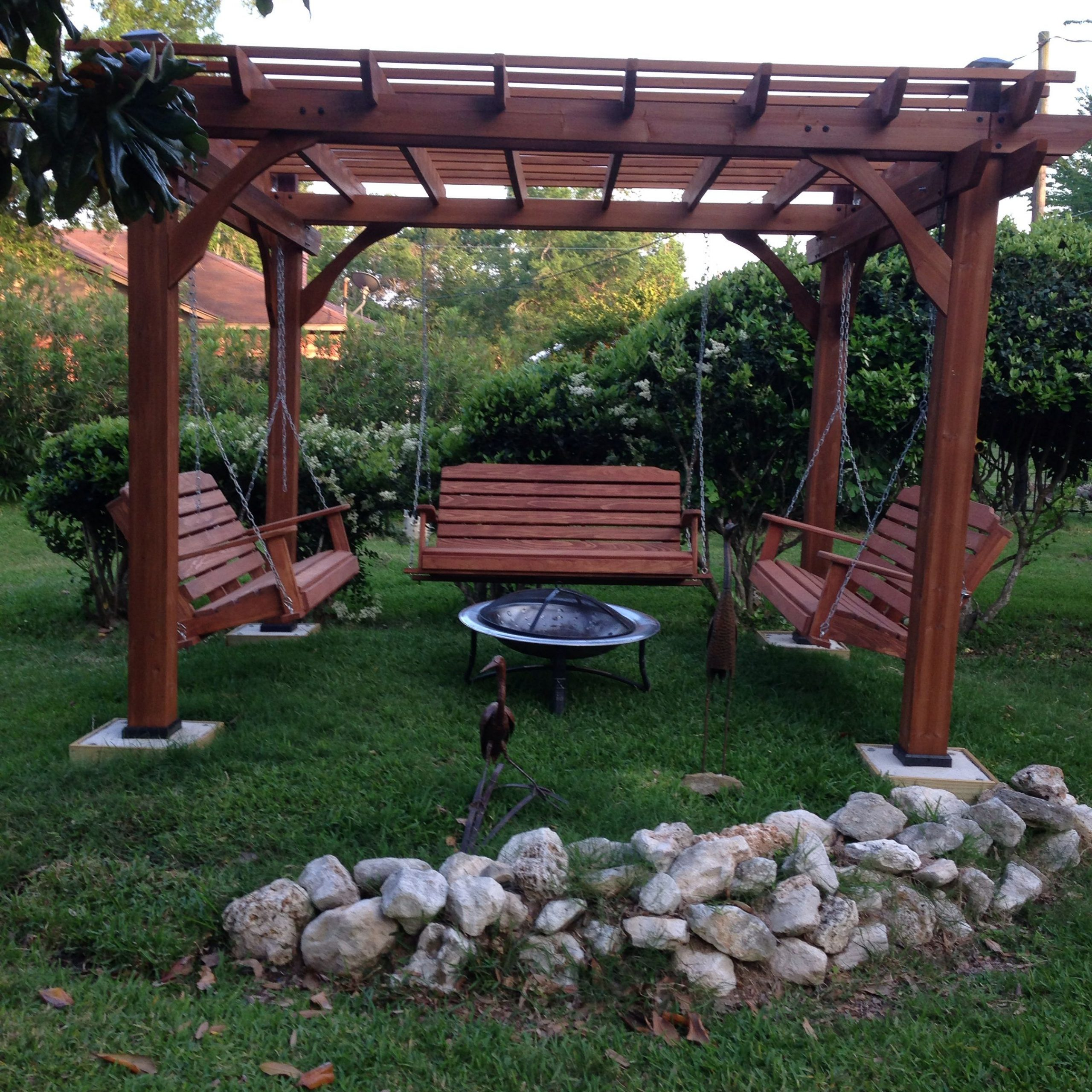 Great Outdoor Area With Pergola, Swings And Fire Pit For Patio Gazebo Porch Swings (View 2 of 25)