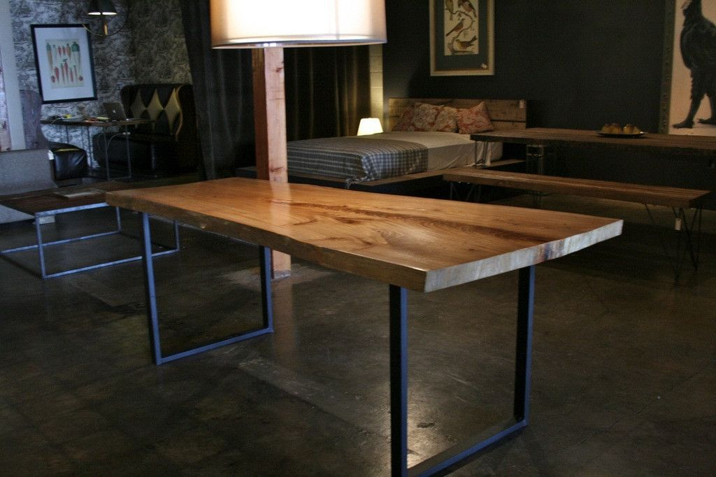 Greenly Live Edge Reclaimed Wood Table With Metal Legs In Iron Wood Dining Tables With Metal Legs (View 2 of 25)