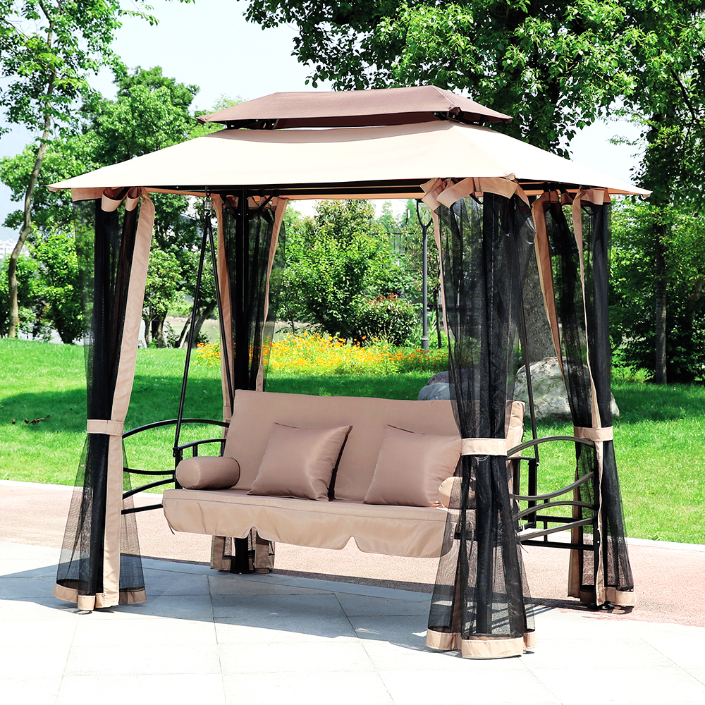 Gretta Steel Swing Gazebo – Khaki Regarding Canopy Patio Porch Swings With Pillows And Cup Holders (View 17 of 25)