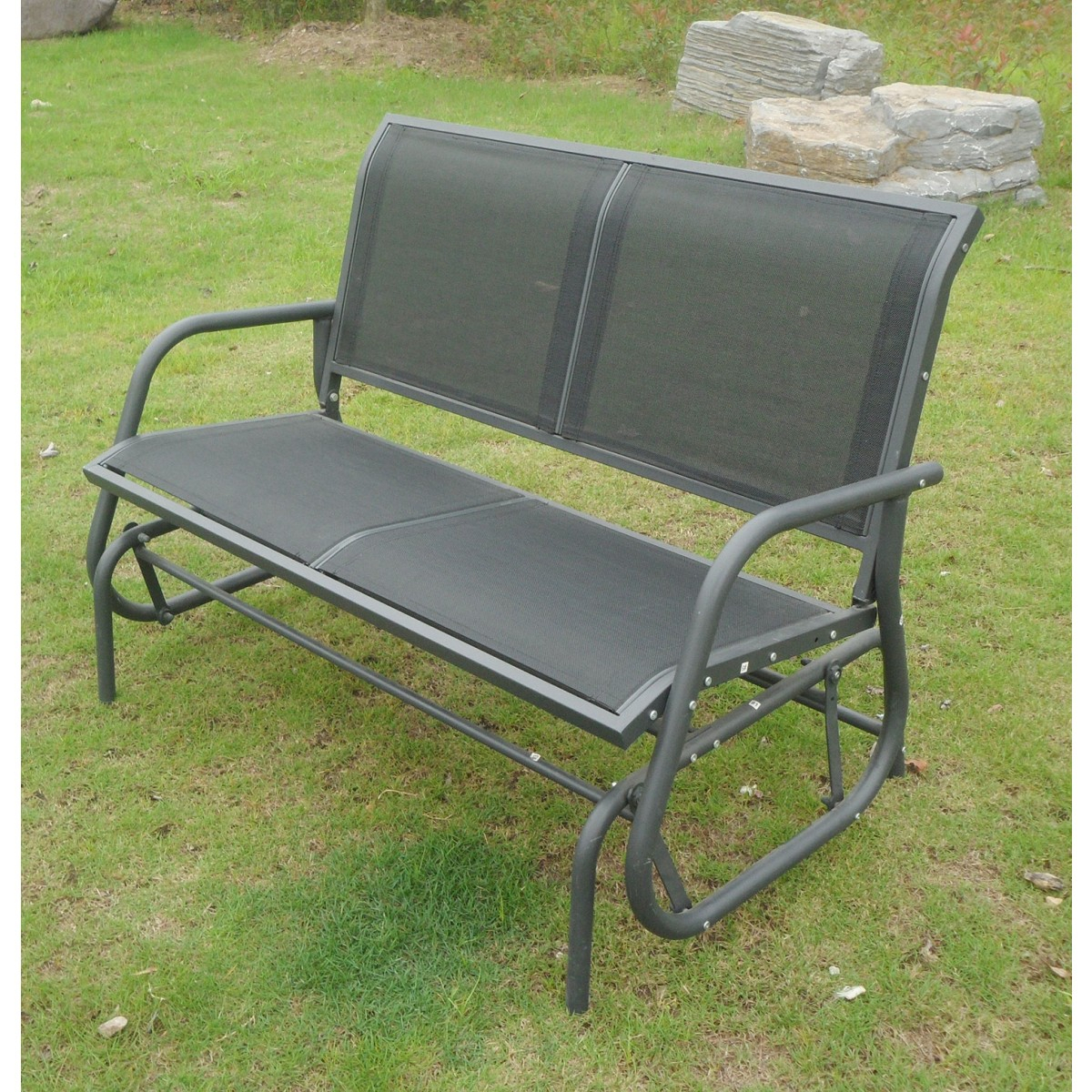 Grey Garden Seat 2 Seater Glider Rocking Bench & Mesh Inside Twin Seat Glider Benches (View 11 of 25)