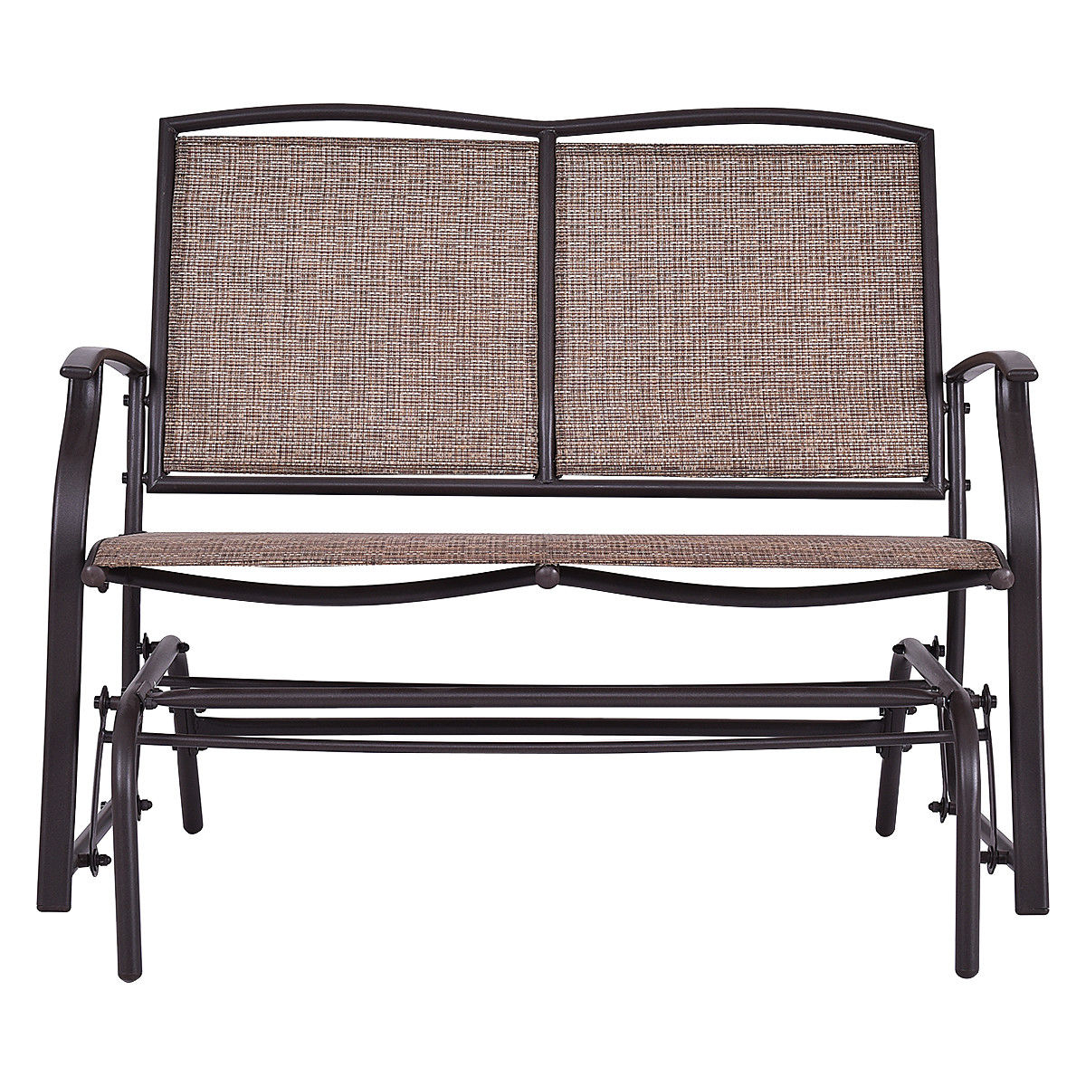 Gymax Patio Loveseat Glider Rocking Bench Double Chair With Arm Backyard Outdoor Inside Speckled Glider Benches (View 22 of 25)