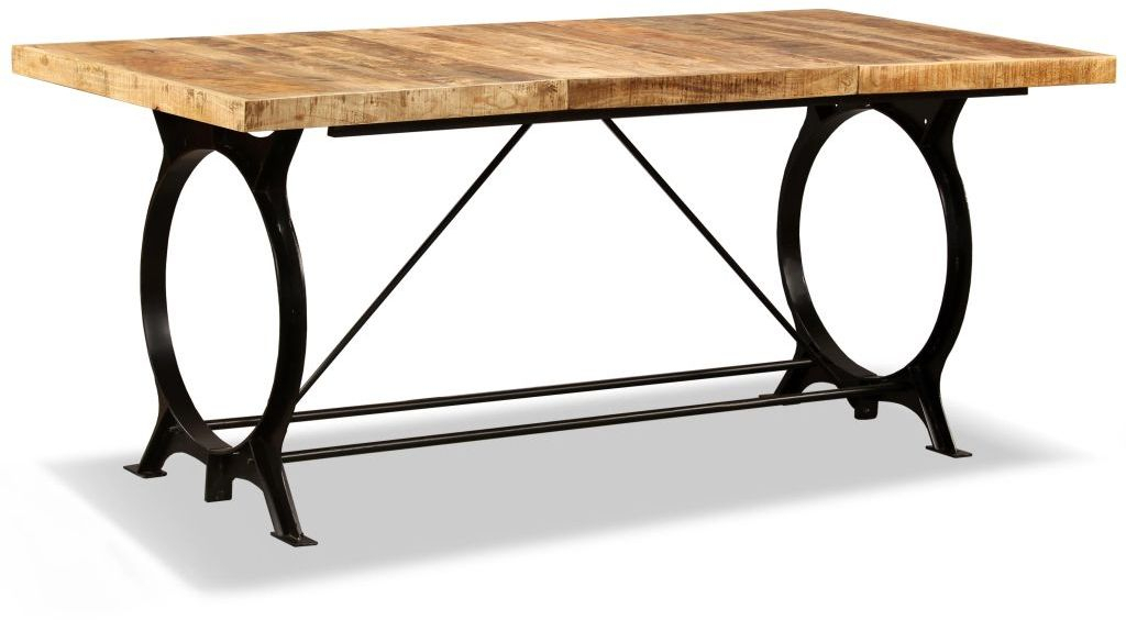 H4Home Industrial Style Dining Table Mango Wood And Metal Within Iron Dining Tables With Mango Wood (View 3 of 25)