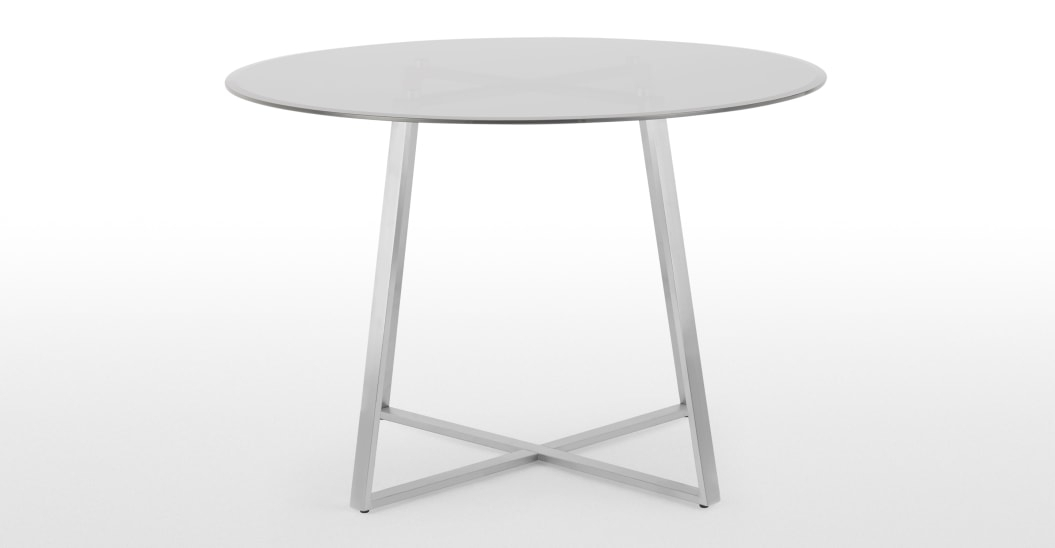 Haku 4 Seat Round Dining Table, Brushed Stainless Steel And In Smoked Oval Glasstop Dining Tables (View 24 of 25)
