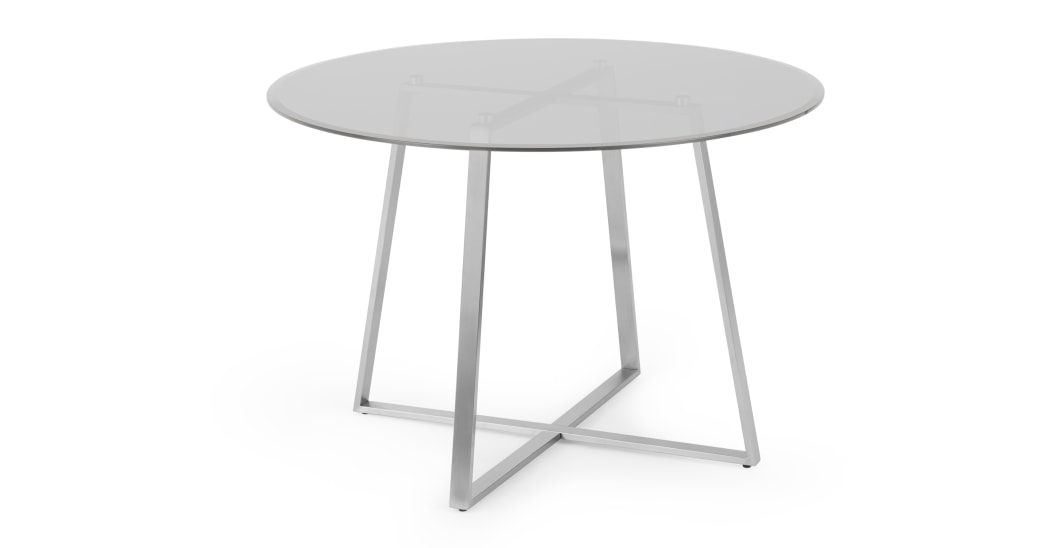 Haku 4 Seat Round Dining Table, Brushed Stainless Steel And Inside Smoked Oval Glasstop Dining Tables (View 8 of 25)