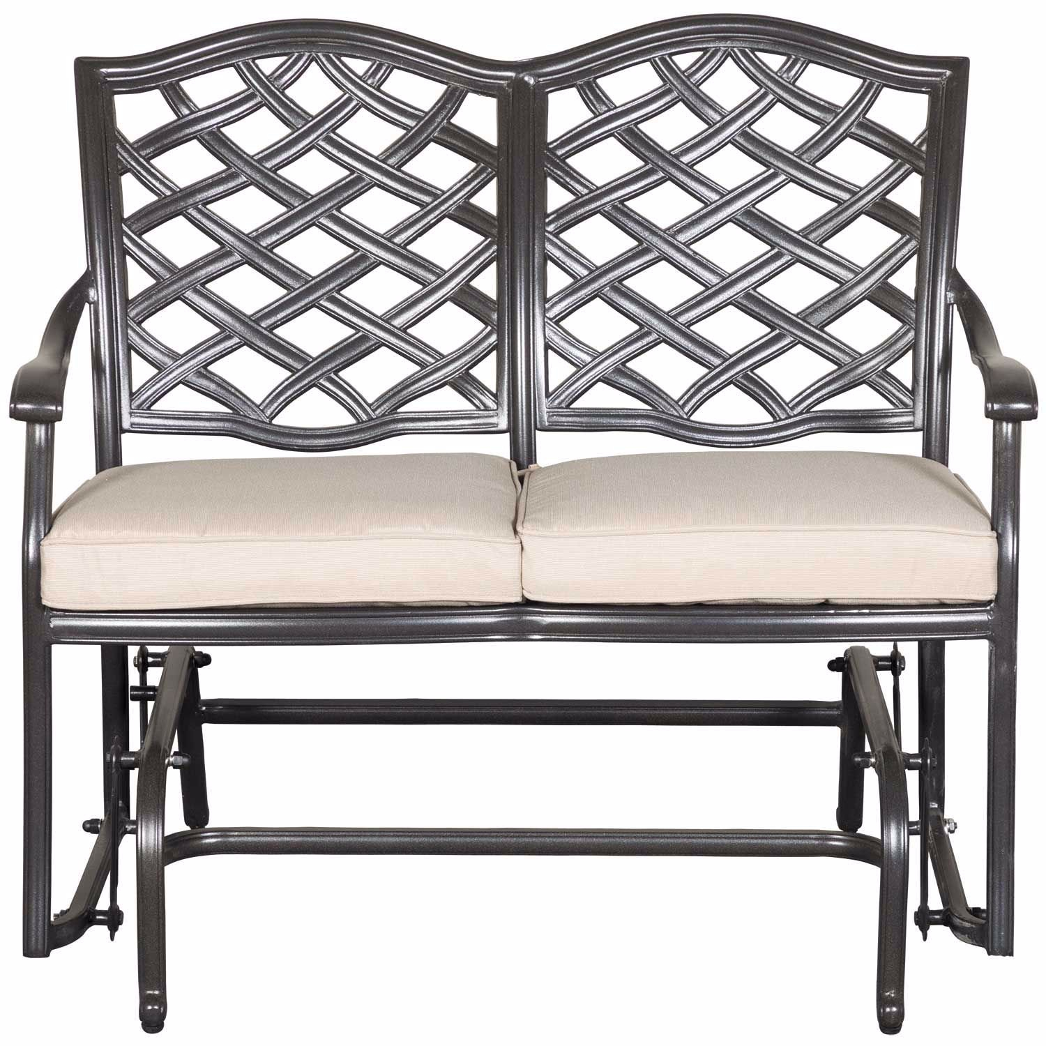 Halston Patio Glider Loveseat With Cushions Within Speckled Glider Benches (View 12 of 25)