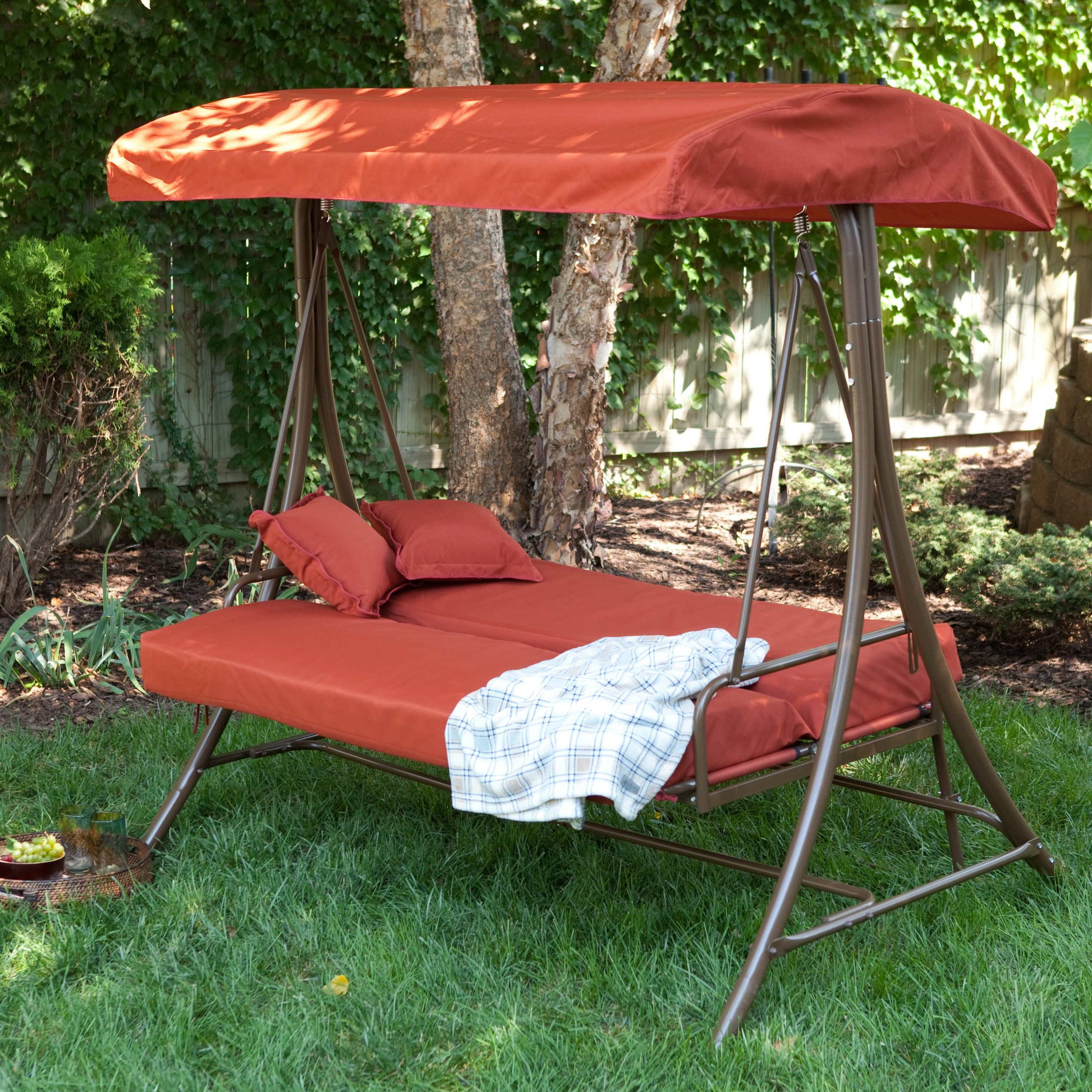 Hammock Patio Backyard Deck Ideas Dining Set Umbrella With With Canopy Patio Porch Swing With Stand (View 15 of 25)