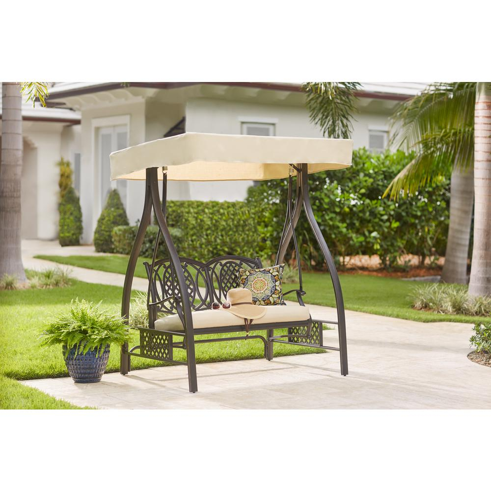 Hampton Bay Belcourt Metal Outdoor Swing With Stand And Canopy With  Cushionguard Oatmeal Cushion With Regard To Canopy Porch Swings (Image 6 of 25)