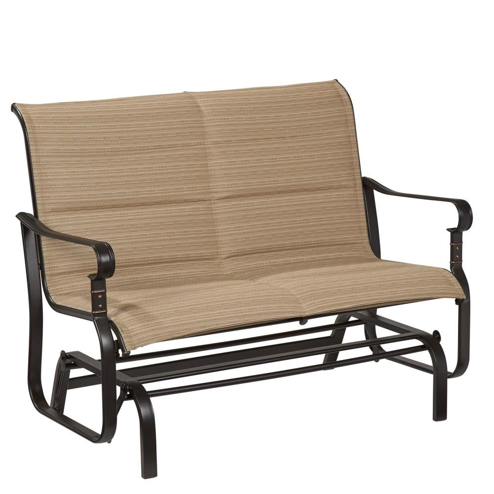 Hampton Bay Belleville 2 Person Sling Outdoor Glider Regarding Padded Sling Double Glider Benches (View 5 of 25)