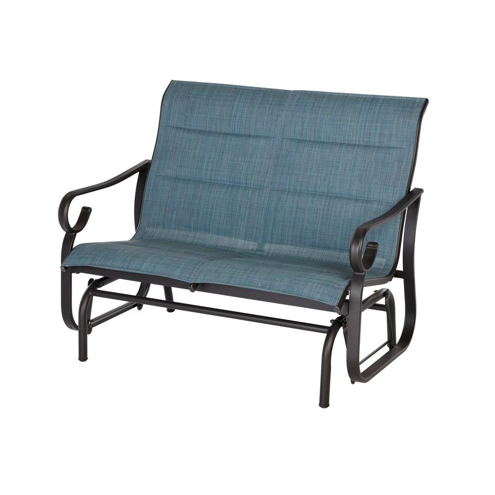 Hampton Bay Crestridge Padded Sling Outdoor Glider In Conley Denim Inside Sling Double Glider Benches (View 17 of 25)
