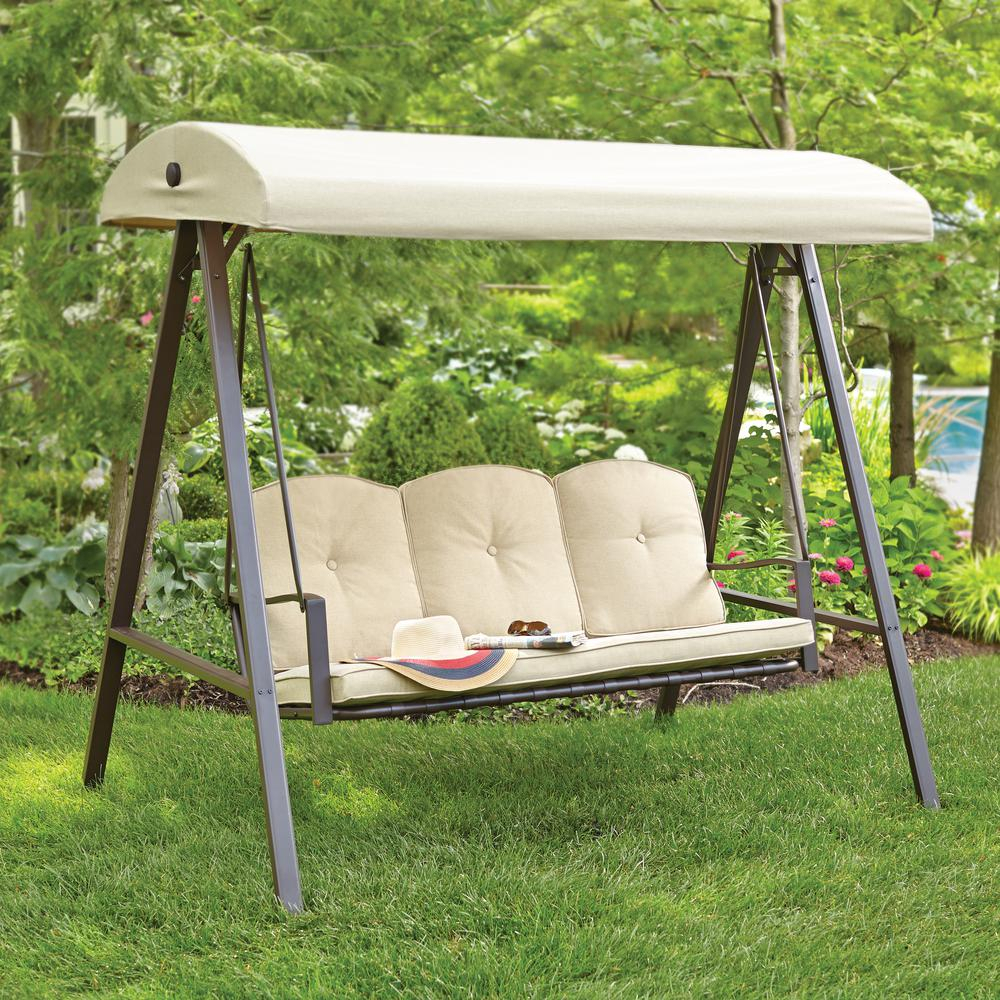 Hampton Bay Cunningham 3 Person Metal Outdoor Patio Swing With Canopy Throughout 3 Person Brown Steel Outdoor Swings (View 4 of 25)