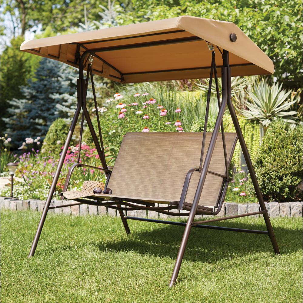 Hampton Bay Mix And Match 2 Person Sling Outdoor Swing Inside 2 Person Outdoor Convertible Canopy Swing Gliders With Removable Cushions Beige (View 24 of 25)