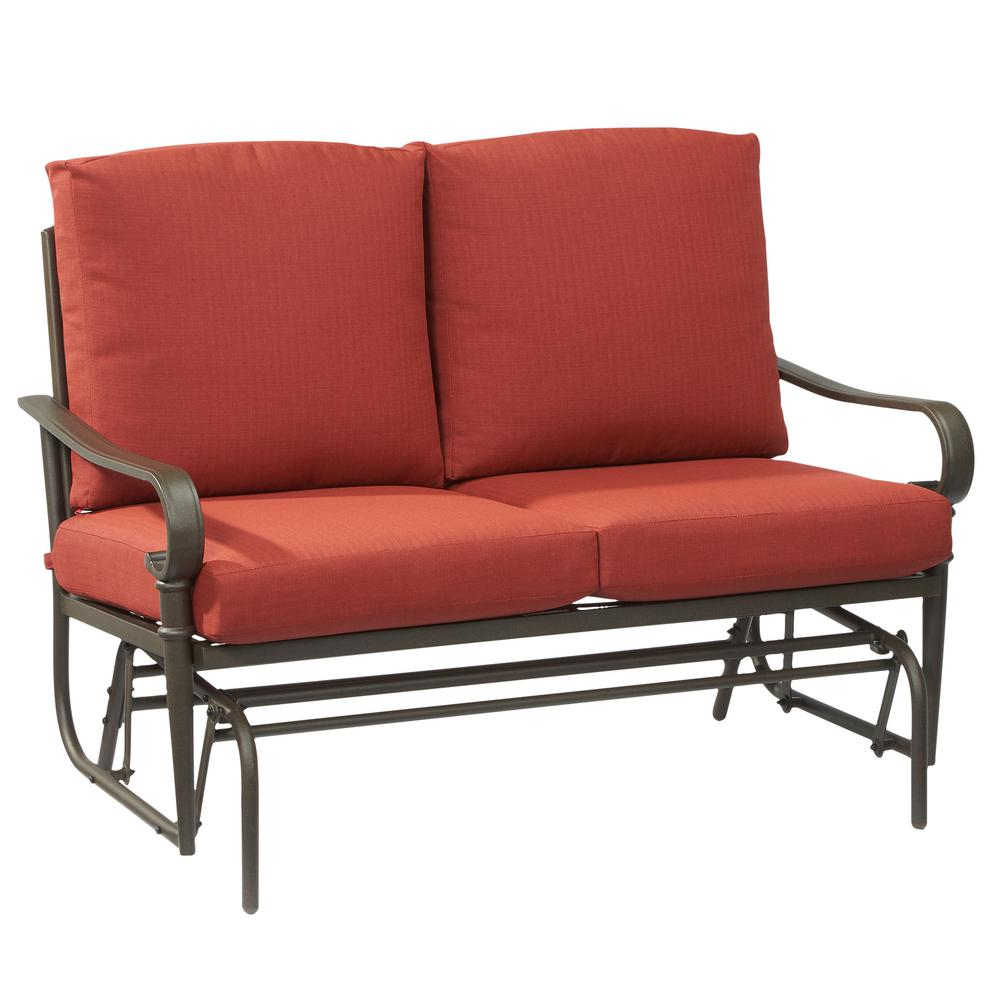 Hampton Bay Oak Cliff Metal Outdoor Glider With Chili Cushions Pertaining To Outdoor Loveseat Gliders With Cushion (View 9 of 25)