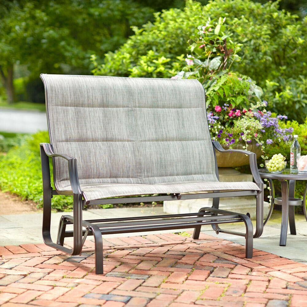 Hampton Bay Patio Double Glider Outdoor Yard Garden Swinging Bench Rocking For Padded Sling Double Glider Benches (View 2 of 25)