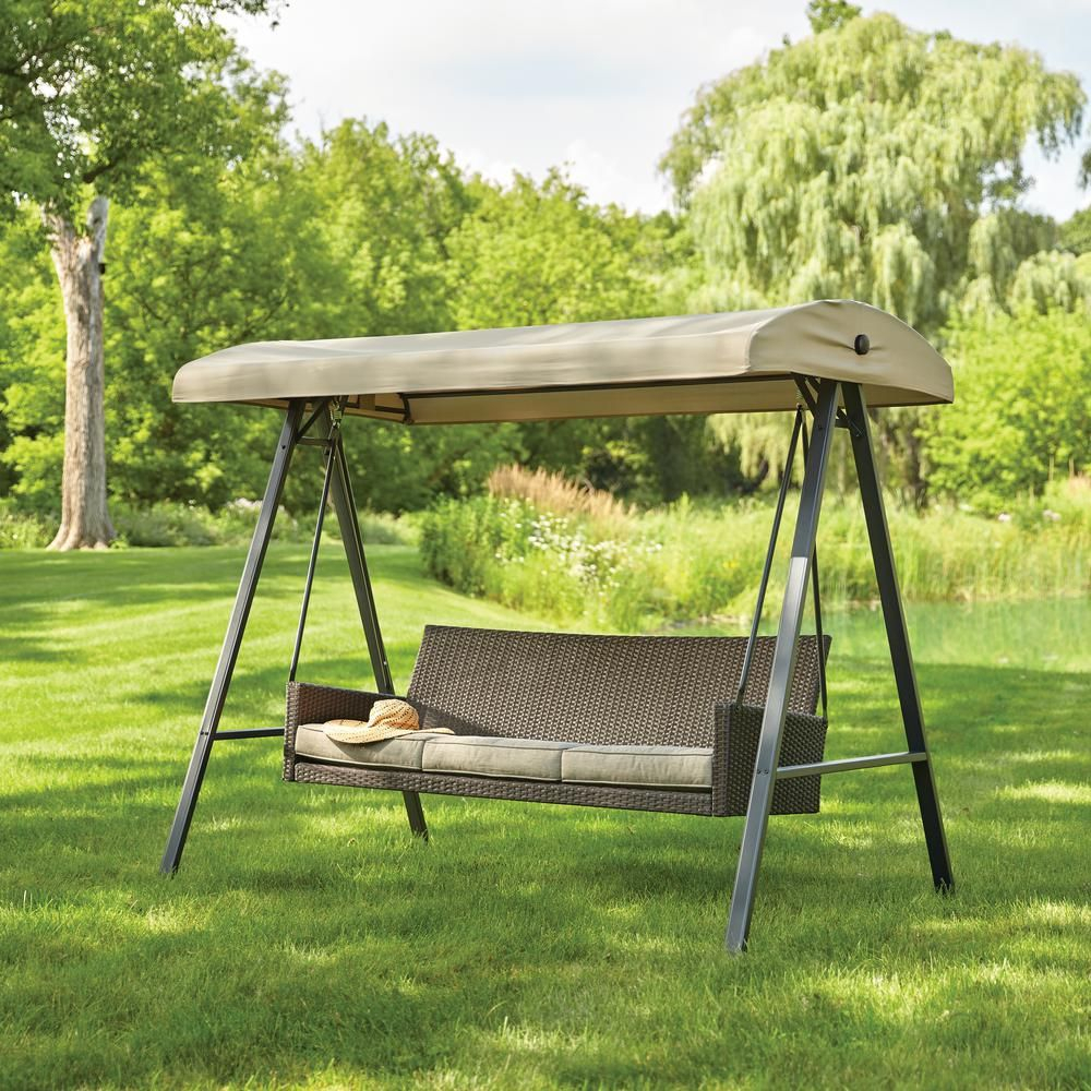 Hampton Bay Plaistow 3 Person Wicker Outdoor Swing With Inside Outdoor Pvc Coated Polyester Porch Swings With Stand (View 10 of 25)